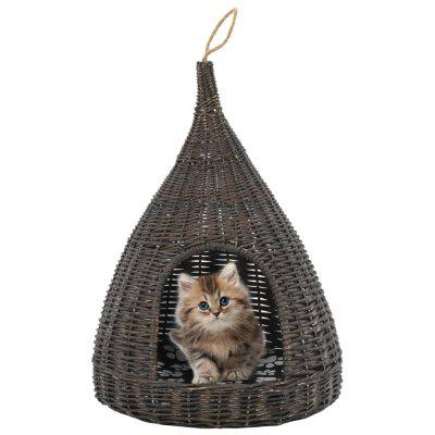 Cat House with Cushion 40x60 cm Natural Willow Teepee Brown and Grey 104971501856238109 фото