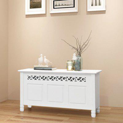 Storage Bench Baroque Style MDF White