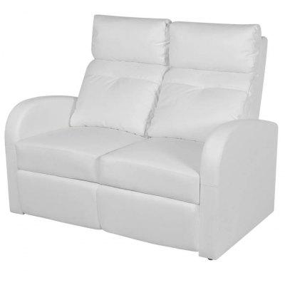 Artificial Leather Home Cinema Recliner Reclining Sofa 2seat White