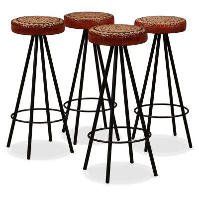 Bar Stools 2 pcs Genuine Leather and Canvas