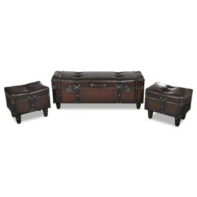 Storage Bench Set Brown 3 pcs