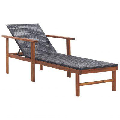 Sun Lounger Poly Rattan and  Solid Acacia Wood Black