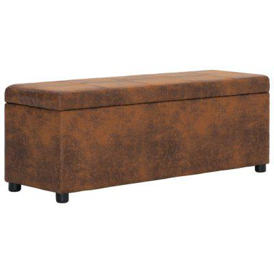Bench with Storage Compartment 116 cm Brown Faux Suede Leather