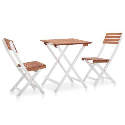 3 Piece Bistro Set Solid Acacia Wood Dark Brown and White