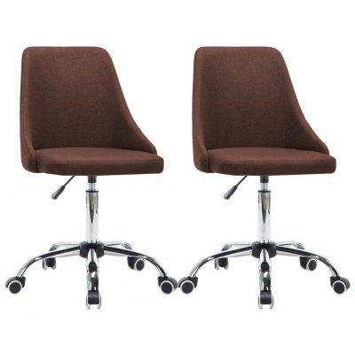 Rolling Office Chairs 2 pcs Fabric Brown