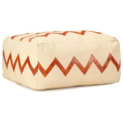 Pouffe  Sand 60x60x30 cm Cotton Canvas and Leather