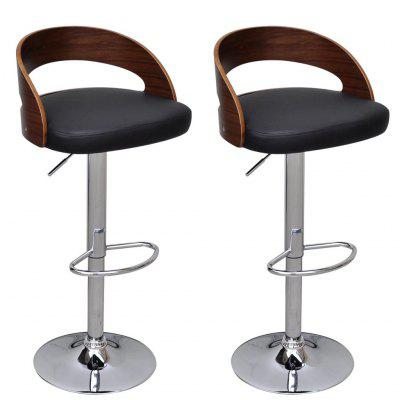 Bar Stools 2 pcs with Bentwood Frame Height Adjustable