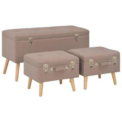Storage Stools 3 pcs Brown Fabric