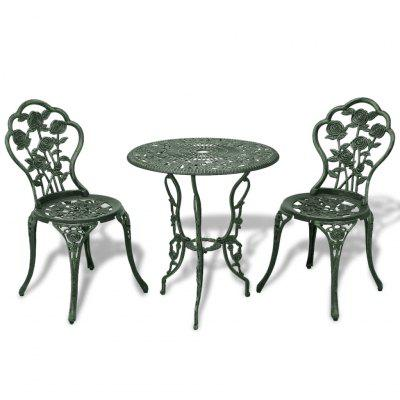 3 Piece  Bistro Set Cast Aluminium Green