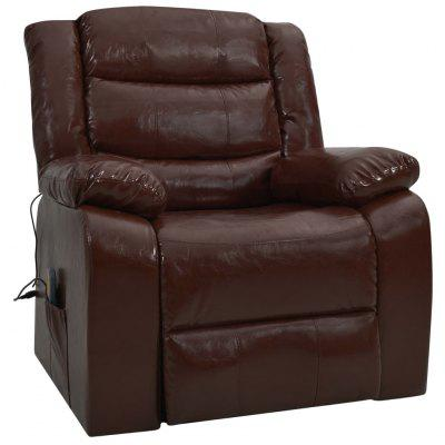 Massage Reclining Sofa Black Faux Leather