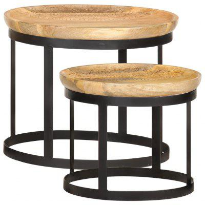 Round Side Tables 2 pcs Solid Mango Wood and Steel