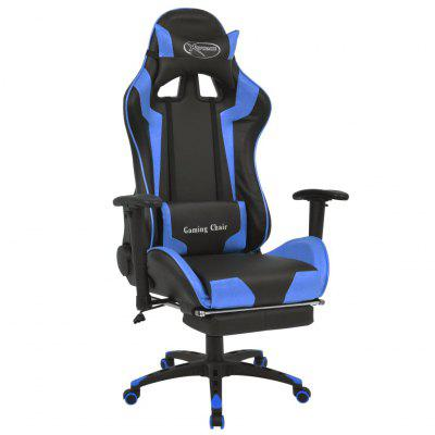 Reclining Office Racing Chair with Footrest Blue