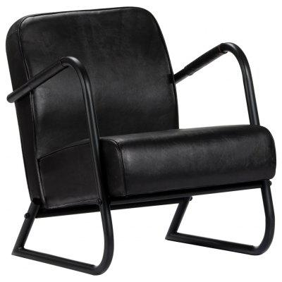 Relax Armchair Black Real Leather