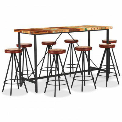 9 Piece Bar Set Solid Reclaimed Wood Genuine Leather & Canvas