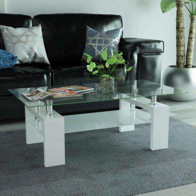 HighGloss  Coffee Table with Lower Shelf 110x60x40 cm Black