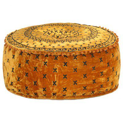 Round Pouffe with Embroidery Velvet 60x25 cm Anthracite