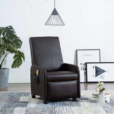 Massage Recliner Brown Faux Leather