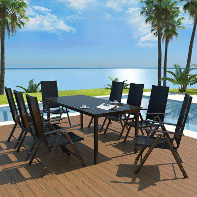 9 Piece Outdoor Dining Set Aluminium and Poly Rattan