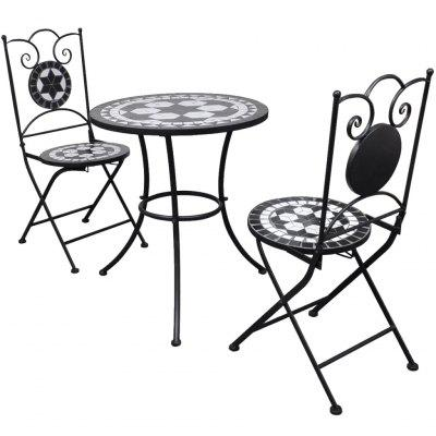 3 Piece Bistro Set Ceramic Tile Black and White
