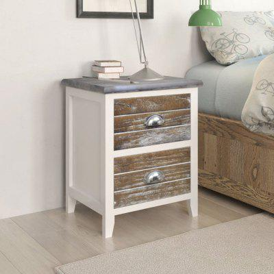 Nightstand 2 pcs with Drawers Brown and White