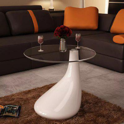 Coffee Table 2 pcs with Round Glass Top High Gloss