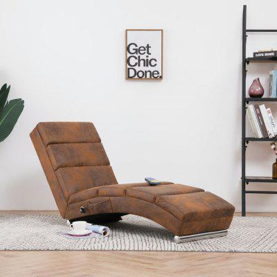 Massage Chaise Longue Brown Faux Suede Leather