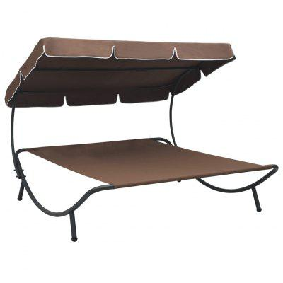 Outdoor Lounge Bed with Canopy Brown