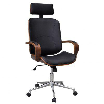 Swivel Office Chair with Headrest Bentwood Artificial Leather