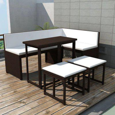 5 Piece Outdoor Dining Set Steel Poly Rattan Brown
