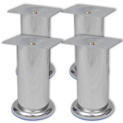 4 Round Sofa Legs Chrome 120 mm Silver