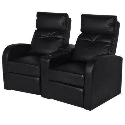 Home Cinema Recliner Reclining Sofa 2seat Faux Leather Black