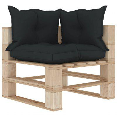 Garden Pallet Corner Sofa with Anthracite and Flower Cushions Wood