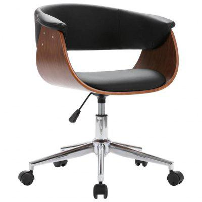 Swivel  Office Chair Black Bent Wood and Faux Leather