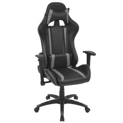 Reclining Office Racing Chair Artificial Leather Black