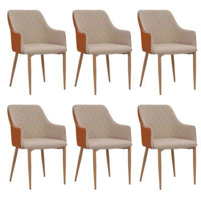 Dining Chairs 6 pcs Grey and Brown Fabric