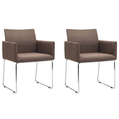 Dining Chairs 2 pcs Brown