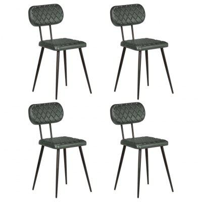 Dining Chairs 4 pcs Real Leather