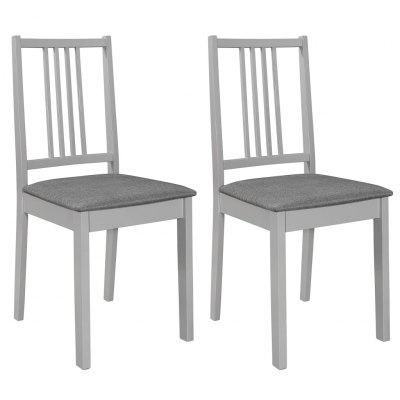 Dining Chairs with Cushions 2 pcs Solid Wood Grey