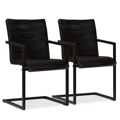 Dining Chairs 2 pcs Real Leather Anthracite