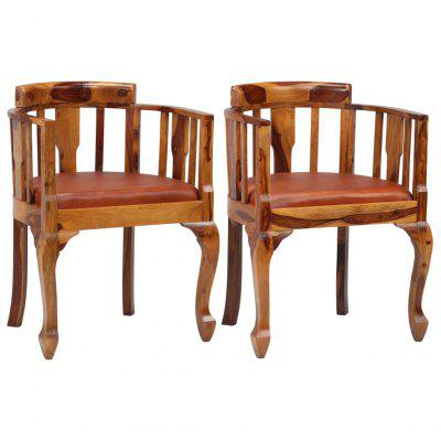 Dining Chairs 2 pcs Real Leather and Solid Sheesham Wood