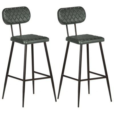 Bar Chairs 2 pcs Real Leather Grey