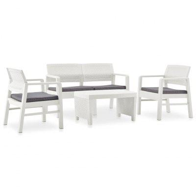 4 Piece Garden Lounge Set with Cushions Plastic White