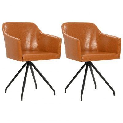 Swivel Dining Chairs 2 pcs Brown Leatherette