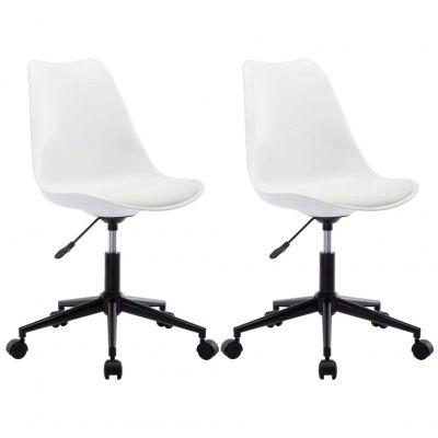 Swivel Dining Chairs 2 pcs White Faux Leather