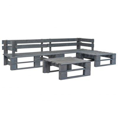 4 Piece Garden Lounge Set Pallets Wood Grey