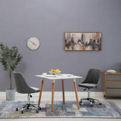 Rolling Dining Chairs 2 pcs Fabric Light Grey