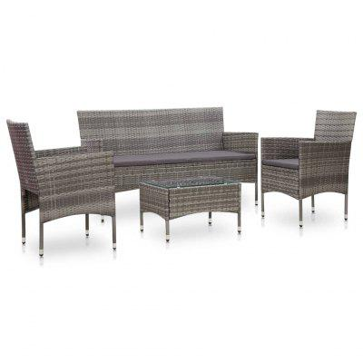 4 Piece Garden Lounge Set With Cushions Poly Rattan