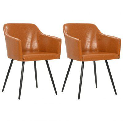 Dining Chair 2 pcs Brown Faux Leather