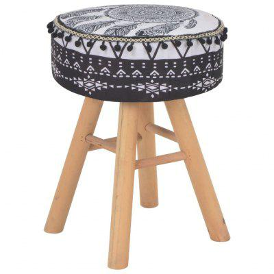 Stool White and Black Fabric Retro Style