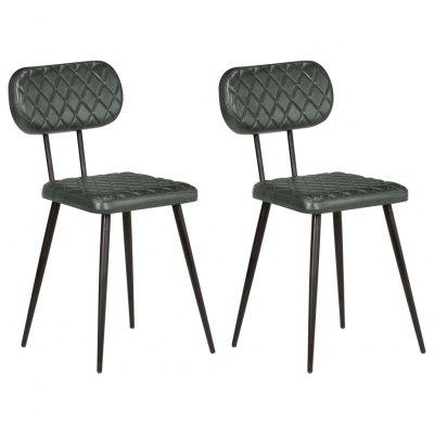 Dining Chairs 2 pcs Real Leather